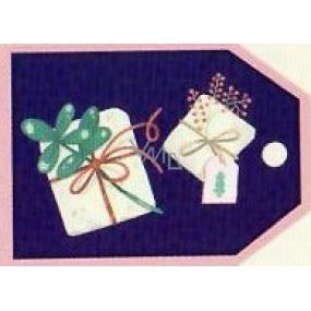 Nekupto Vianočné kartičky na darčeky Dva darčeky 5,5 x 7,5 cm 6 kusov