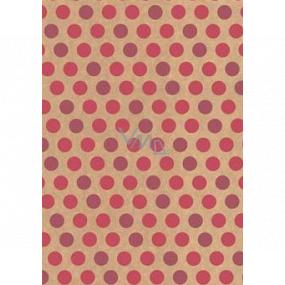Ditipo Darčekový baliaci papier 70 x 200 cm KRAFT Ružová kolieska