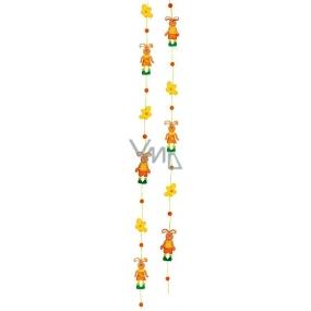 Reťaz zajace s kvietkami 130 cm