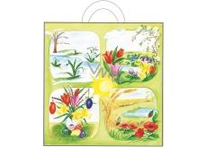Anděl Velikonoční igelitová taška s uchem Jarní květiny 48 x 45 x 6 cm