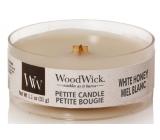 Woodwick White Honey - Biely med vonná sviečka s dreveným knôtom petite 31 g