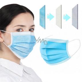3 vrstvová Premium netkaná jednorazová lekárska ochranná rúška nízky dýchací odpor 1 kus