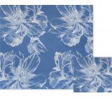 Nekupto Darčekový baliaci papier 70 x 150 cm Modrý s bielymi kvetmi