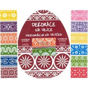 Fólie na vajcia ornamenty farebné, 12 kusov v balení (zmršťovacia košieľky)