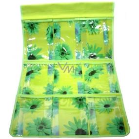 Kapsář do koupelny závěsný 705 zelený 59 x 35,5 cm 9 kapes