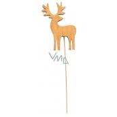 Jeleň drevený hnedý zápich 8 cm + drôtik
