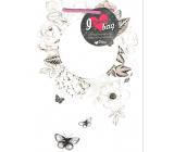 Ditipo Darčeková papierová taška 22 x 28,7 x 10 cm Kreativ biela kruh kvety a motýle