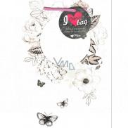 Ditipo Darčeková papierová taška Kreativ biela kruh kvety a motýle 22 x 28,7 x 10 cm