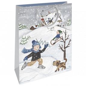 Nekupto Darčeková papierová taška 32,5 x 26 x 13 cm Vianočný deti WBL 1942 02