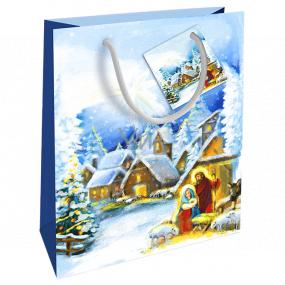 Nekupto Darčeková papierová taška 23 x 18 x 10 cm Vianočný zimná krajina Betlehem WBM 1938 40