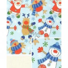 Nekupto Darčekový baliaci papier 70 x 500 cm Vianočný Svetlo modrý snehuliak, Santa, sob