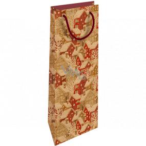 Nekupto Darčeková Kraftová taška na fľašu 15 x 40 cm Vianočný zasnežené domčeky 618 WHLH