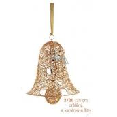 Zvon drôtený, zlatý s kamienkami a flitrami závesný 30 cm