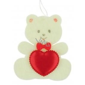 Medvedík z filcu so srdiečkom béžový na zavesenie 6,5 cm