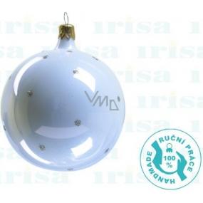 Irisa Banky sklenené biele, bodka, sada 7 cm 12 kusov