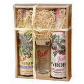 Kitl Syrob Bio Bazový kvet sirup 500 ml + Malinový s dužinou sirup pre domáce limonády 500 ml + pohár 200 ml, darčekové balenie