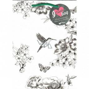 Ditipo Darčeková papierová taška 21,8 x 29 x 10 cm Kreativ biela kolibrík kvety-zelené ucho