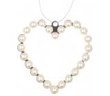 Srdce kovové závesné s perlami 9 cm
