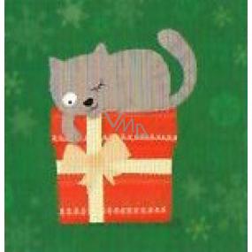 Nekupto Vianočné kartičky na darčeky Mačka s darčekom 6,5 x 6,5 cm 6 kusov
