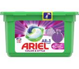 Ariel All in 1 Pods Color & Style Complete Fiberer Protection gélové kapsule na pranie farebnej bielizne 12 kusov 302,4 g
