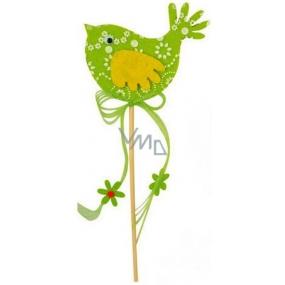 Vtáčik z filcu zelený-biely dekor zápich 7cm + špajle