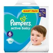 Pampers Active Baby 6 Extra Large 13-16 kg jednorazové plienky 56 kusov