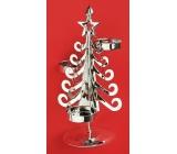 Svietnik kovový strieborný strom, 20 cm, na 3 čajové sviečky
