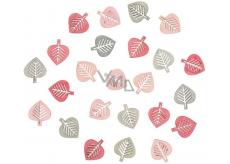 Listy drevené šedej a ružovej 2 cm 24 kusov