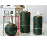 Lima Sparkling sviečka zelená matná guľa 80 mm 1 kus