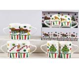 Vianočný keramický hrnček dizajn mix Darčeky, Stromček, Čiapočka, Christmas Candy 340 ml 2 kusy v škatuľke