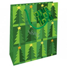 Nekupto Darčeková papierová taška 23 x 18 x 10 cm Vianočná zelená sa stromčeky WBM 1939 50
