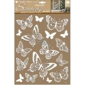 Room Decor Samolepky na stenu bieli motýle s glitrami 41 x 28 cm