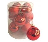 Banky sklenené červené sada 5,7 cm, 12 kusov