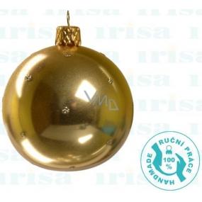 Irisa Banky sklenené zlaté metalíza, bodka, sada 7 cm 12 kusov