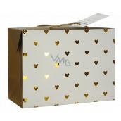Anjel Darčeková papierová taška krabica 18 x 12 x 9 cm uzatvárateľné, so zlatými srdiečkami