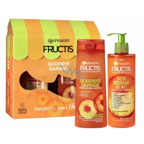 Garnier Fructis Goodbye Damage šampón na vlasy 250 ml + SOS repair 10v1 bezoplachová starostlivosti 400 ml, kozmetická sada