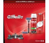 Gillette Mach3 Turbo holiaci strojček + náhradné hlavice 2 kusy + pena na holenie 250 ml + Old Spice Original sprchový gél 250 ml, kozmetická sada pre mužov