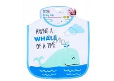 First Step Podbradník bavlna modrá veľryba 21 x 25 cm