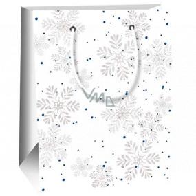 Ditipo Darčeková papierová taška 11,5 x 6,5 x 14,5 cm biela šedé vločky E