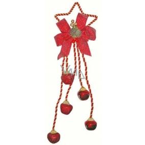 Päť rolničiek s dekorom na hviezde-kov, červená 32cm
