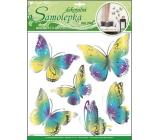 Room Decor Samolepky na zeď motýli žlutomodří s pohyblivými stříbrnými křídly 39 x 30 cm