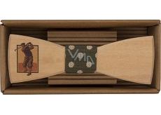 Bohemia Gifts & Cosmetics Drevený motýlik Golfista 12,5 cm