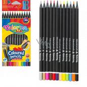 Colorino Pastelky trojhranné, čierne drevo, s orezávačom 12 farieb