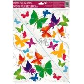 Room Decor Okenní fólie bez lepidla rohová pestrobarevní motýli č.2. 42 x 30 cm