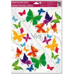 Room Decor Okenné fólie bez lepidla rohová pestrofarební motýle č.2. 42 x 30 cm