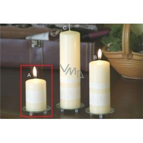 Lima Čipka sviečka creme valec 60 x 90 mm 1 kus