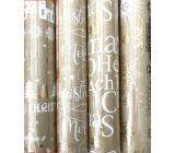 Zöllner Darčekový baliaci papier 70 x 150 cm Vianočný Luxusné s razbou Urban zlatý - Merry Christmas, stromy, jelene, domy