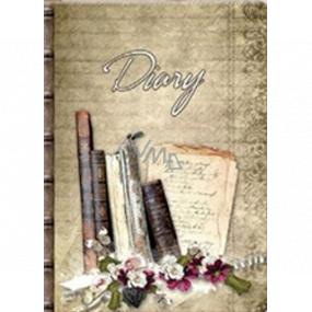Ditipo Denník Nostalgie knižky, kvety B5 17 x 24 cm