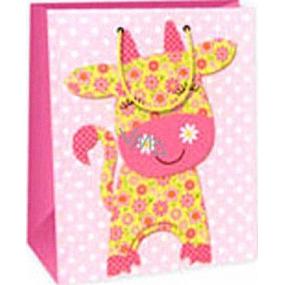 Ditipo Darčeková papierová taška 26,4 x 13,7 x 32,4 cm ružová kravička AB