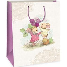 Ditipo Darčeková papierová taška 32,4 x 10,2 x 44,5 cm bielo béžová 2 myšky